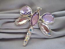 Big Purple Clear Marquise/Pear Stones Dragonfly Silvertone Brooch Ab Rhinestones