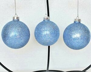 "Frontgate Christmas Ornaments 3 pc Set Blue and Silver Glitter Round 3"" Dia."