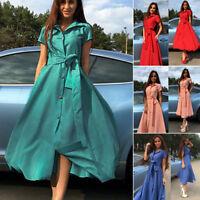 New Women Summer V Neck Short Sleeve Long Dress Party Beach Sundress Fashion