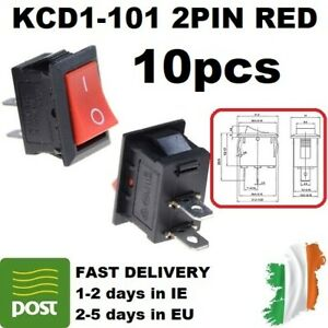 125V 10A Push Switch KCD1-101 Red 2pin Rocker Switch On-Off 21x15mm AC 250V 6A