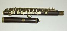 Hermoso Antiguo sin marcar Completo Boehm inglés/francés? Ebonita Piccolo/flauta