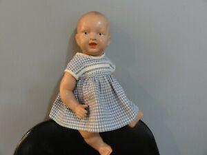 ANTIQUE CELLULOID BISKOLINE BABY DOLL PARSONS JACKSON STORK MARK DRESSED MINT