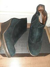 Ladies Scholl black leather suede shoes boots booties wedge heel size 38 uk 5