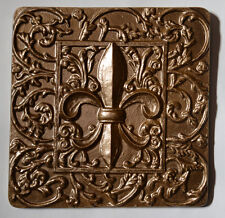 Fleur de Lis Lys Leis Leaf Decorative Backsplash Tile in Bronze Color