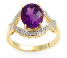 2.25ctw Diamond & Amethyst Solid Yellow Gold Ring