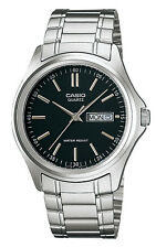 Casio MTP1239D-1A Men's Stainless Steel Black Dial Analog Day Date Watch
