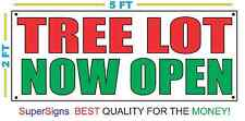 2x5 Tree Lot Now Open Banner Sign New Larger Size Red & Green Christmas Tree