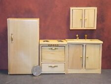 Dollhouse Miniature Kitchen Frig Sink /& Stove Set Cream 1:12 K34 Dollys Gallery