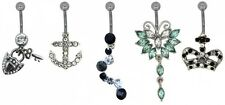 Metal Crown and Anchor Belly Bars - Set of 5
