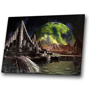 Fantasy Sci-fi Space Planets Green  Landscape Canvas Wall Art Large Picture