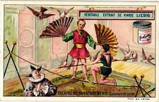 6 cards c1897  Variety Acts Weight Lifting Rope dancer Fan Clown Snake Charmer