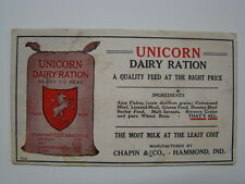 Unicorn Dairy Ration Feed Chapin & Co Hammond Indiana Ink Blotter 1910's
