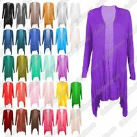 New Ladies Long Sleeve Open Front Floaty Waterfall Cardigan Thin Jersey ShrugTop