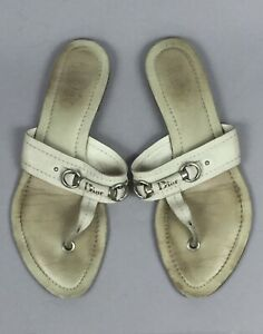 CHRISTIAN DIOR Ivory Leather Silver Logo Women's Sandals Flip Flop EU 39.5 US 9