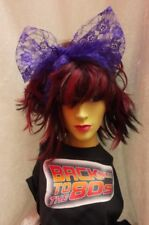 Purple Lace Scarf Headband Bow 1980s Fancy Dress Accessory Dance Fame Madonna
