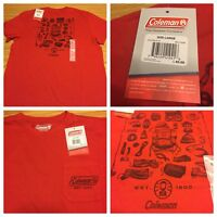 Coleman T-shirt Mens L Brand New Tags Pocket Camping Lantern Red Hiking Outdoors