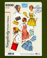 Vintage Apron, Oven Mitt, Scarf & Bag Sewing Pattern (One Size) Simplicity 6206