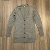 J Crew Womens Small Gray Wool Lightweight Long Cardigan Sweater