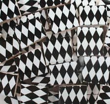 Ceramic Mosaic Tiles - Black And White Harlequin Checkered Mosaic Tile Pieces