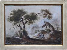 "Adrian Zingg (CH) ""Bei der Rast"" Öl/Tempera/Papier um/vor 1800"