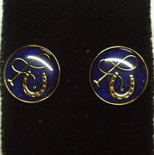 Horse Shoe And Whip Cuff Links Blue Enamel With Gold Plate Detail