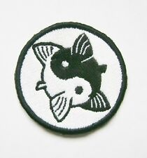 Ying and Yang Fish Embroidered  Patch Badge Iron on or Sew.