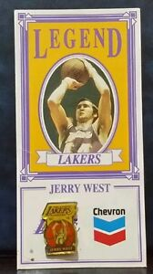 Jerry West Pin with Basketball Card