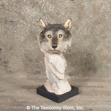 #11329 E | Wolf Pedestal Statue Wildlife Decor - Carving Bust Animal