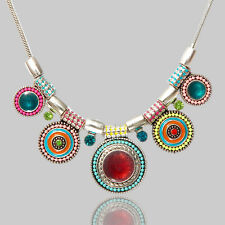 Statement Boho Bohemian Tribal Pendants Embellished Choker Necklace Bib Jewelry