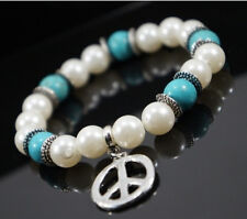 Armband Perlenarmband Elastisch Türkis Edelstein Peace and Love Versilbert Paris