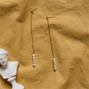 4-5mm White Gold-Plated Baroque Pearl Earrings Chic Personality Beads