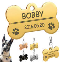 Personalised Dog Tag Bone Disc Disk Pet ID Name Engraved Collar Pawprint Pet Tag