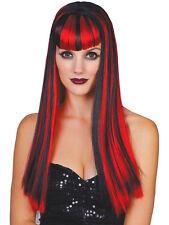 Adulti Donna Nero Rosso Vamp Vixen lungo Parrucca Costume Halloween MORTA STUPENDO