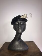 AUTHENTIC 1940's BLACK COLOURED WHITE FLOWER & NET WOVEN RAFFIA HAT ...