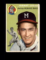 1954 Topps #122 Johnny Logan Vintage Baseball Card ~ VG-EX ~ Milwaukee Braves