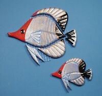 Mosaiksteine-Korallenfisch-Falterfisch-Fisch-blau/rot-in 2 verschied.Grössen