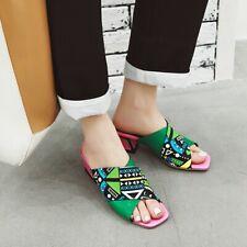 Women's Peep Toe Printed Sandals Block Mid Heels Slippers Casual Shoes 4.5-10.5