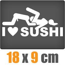 I Love Sushi 18 x 9 cm JDM Decal Sticker Auto Car Weiß Scheibenaufkleber