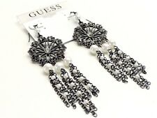 Guess Drop Earrings Dark Silvertone White Faux Pearls Grey Crystals New! NWT