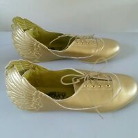 Adidas JS Wings Jeremy Scott Shiny Gold Lace up Flats 39.5 Women's 9 UK7