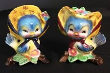 Vintage PY Anthropomorphic Blue Birds in Yellow Hats Salt & Pepper Shakers