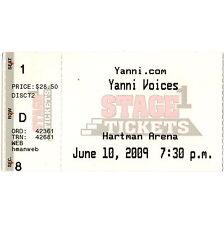 Yanni Concert Ticket Stub Wichita Kansas 6/10/09 Hartman Arena Stimmen Master