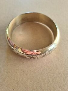 Solid sterling silver bangle engraved with dragon for sale