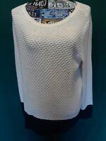 Karen Scott Womens Top Sz L Waffle Weave White Blue Bottom Long Sleeve