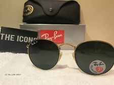 Ray Ban RB3447 112/58 Gold Green Round Polarized Sunglasses 50mm rb 3447 112 58