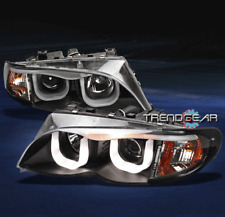 2002-2005 BMW E46 3-SERIES 4DR 3D DRL LED PROJECTOR HEAD LIGHTS BLACK 2003 2004