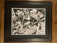 Pro Framed Hawk & Dove Black Lantern Original Comic Art Double Page Splash DC