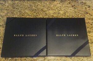 """RALPH LAUREN BLUE GIFT BOX WITH RIBBON AND TISSUE PAPER - SQUARE 9 1/4"""" X 9 1/4"""""""
