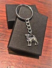 Handmade Silver Pug Dog Keyring / Handbag Charm. Gift Boxed.