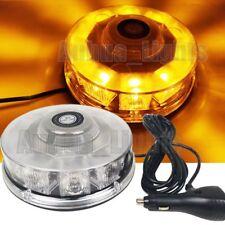 10 LED Rotating Round Mini Emergency Beacon Strobe Roof Flashing Light Bar Amber
